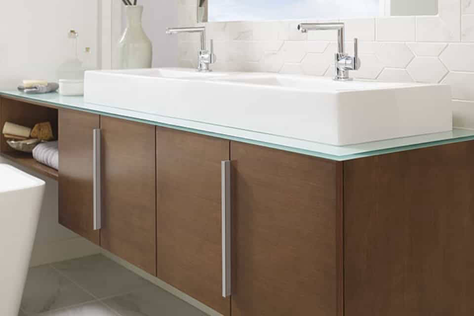 Floating vanities for a contemporary look.