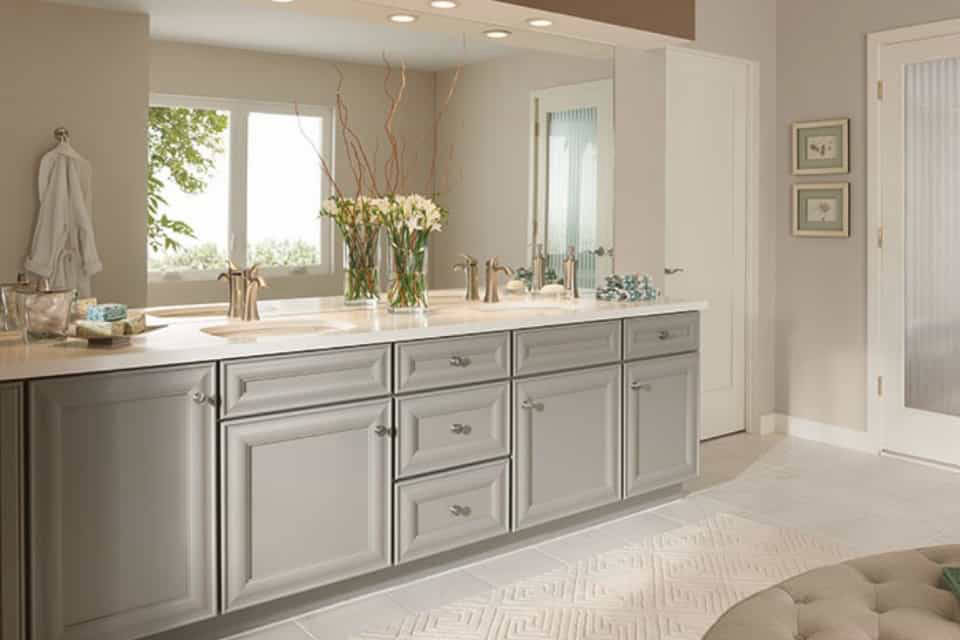 Traditional bathroom cabinets.